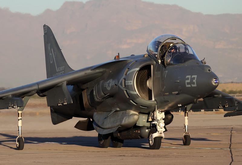 USA - Marines McDonnell Douglas AV-8B Harrier II  Phoenix (Chandler) - Mesa (Williams) Gateway (AFB) (AZA / IWA / KIWA) USA - Arizona, November 26, 2014 Reg: 163877 Code: KD-23 Cn: 185 VMAT-203 'Hawks'