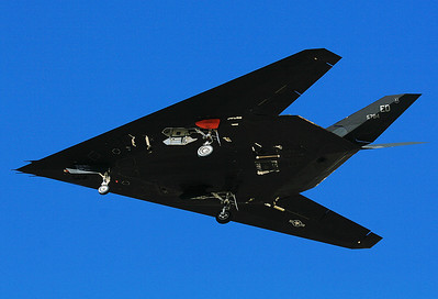 USA - Air Force Lockheed YF-117A Nighthawk 	 Palmdale - Production Flight Test Installation AF Plant 42 (PMD / KPMD) USA - California, November 20, 2006  79-10784 / ED (cn A.4009) This Stealth Fighter is used for flight testing and you may note a small orange pod close to the left main gear, which purpose is unknown to me and which might compromise the Stealth abilities of this jet. This F-117 is operated by the 412th Test Wing, 410th FTS, based at Palmdale, the famous Skunk Works.