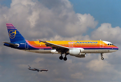 "Air Jamaica Airbus A320-214  Miami - Intl.  (MIA / KMIA) USA - Florida, January 2000 Reg: N624AJ  Cn: 624 ""Spirit of the Caribbean"""
