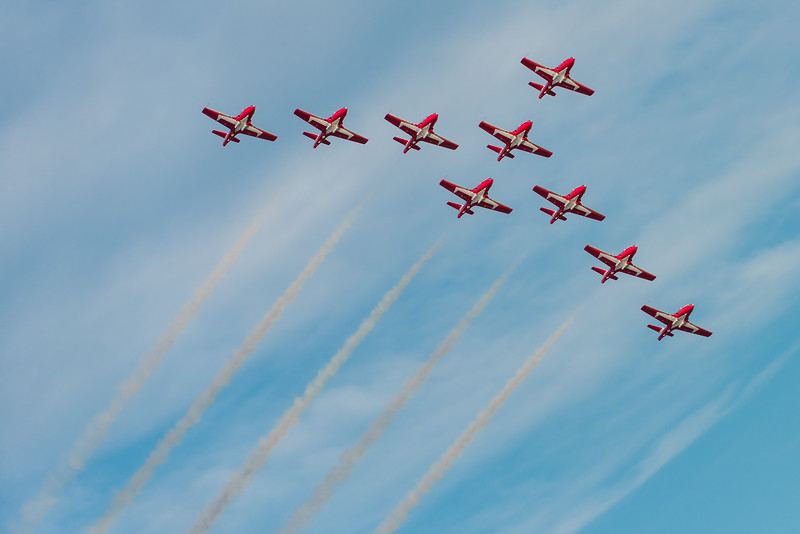 The 2015 Royal Canadian Airforce Snowbirds perform in the Vulcan Formation at The Lethbridge International Airshow.