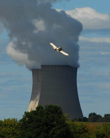 Byron Nuclear Facility - With Crop Duster Flying in the Foreground - Photo Taken: August 30, 2009