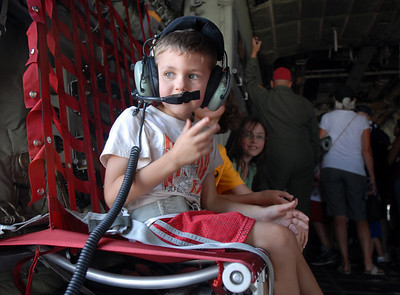 Jack Butler, 5, of Broomfield, sits in a seat of a Colorado National Guard C-130 during Saturday's Colorado Sport International Airshow at Rocky Mountain Metropolitan Airport. August 28, 2010 staff photo/David R. Jennings