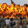 A wall of flame shoots up during the F-16 performance during Saturday's Colorado Sport International Airshow at Rocky Mountain Metropolitan Airport.<br /> August 28, 2010<br /> staff photo/David R. Jennings