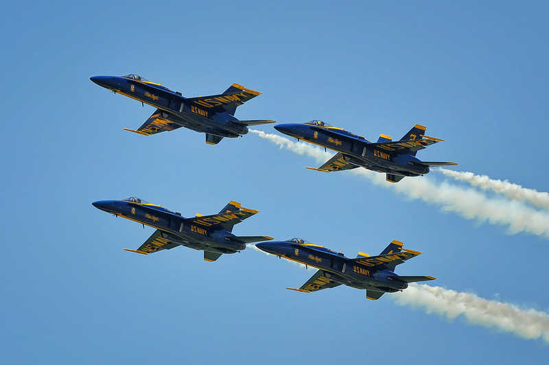 The Blue Angels joining up for their diamond formation.