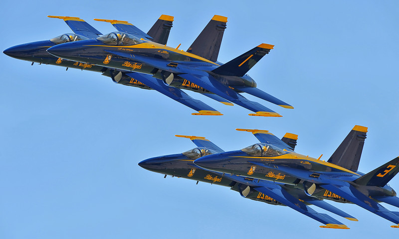 Blue Angels Diamond formation, up close. Those are some shiny birds!