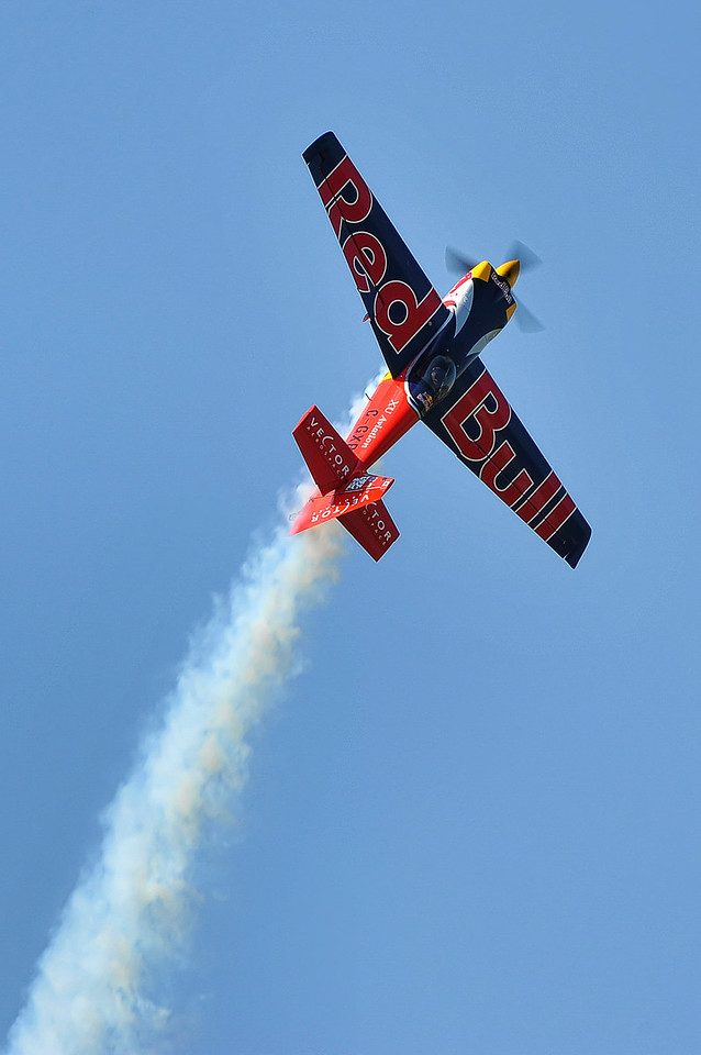 Pete MecLeod putting on a show in his Red Bull Air Race machine