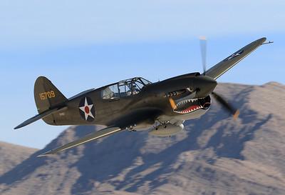 Curtiss P-40E Warhawk  REG: N2416X  Las Vegas - Nellis AFB (LSV / KLSV) Nevada, USA November 11, 2017