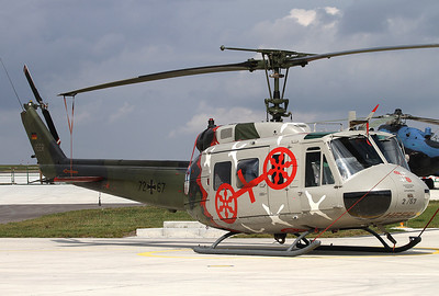 Transporthubschrauberregiment 30 at Niederstetten is celebrating 40 years of service in 2011. Major achievements during the Elbe and Oder flooding and the Galtür avalanche catastrophe. Special colours applied to German Army 72+67 Bell UH-1D. Niederstetten, Germany, 17.9.2011.