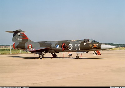 Italy - Air Force  Lockheed F-104G Starfighter  Pratica di Mare (- Mario de Bernardi) (LIRE)  Italy, May 30, 2004  MM6501 / 3-11 (cn 683-9998) Starting in 1963 the Aeronautica Militare Italiana (AMI) received 125 Fiat-built F-104Gs (including 11 RF-104Gs) plus 12 Lockheed-built TF-104Gs and 16 Fiat-built TF-104Gs. The F-104Gs and TF-104Gs first entered service at Grosseto with 4° Stormo in 1963. This first generation Starfighter is preserved in a superb condition and is showing the old and stylish colours of the AMI.