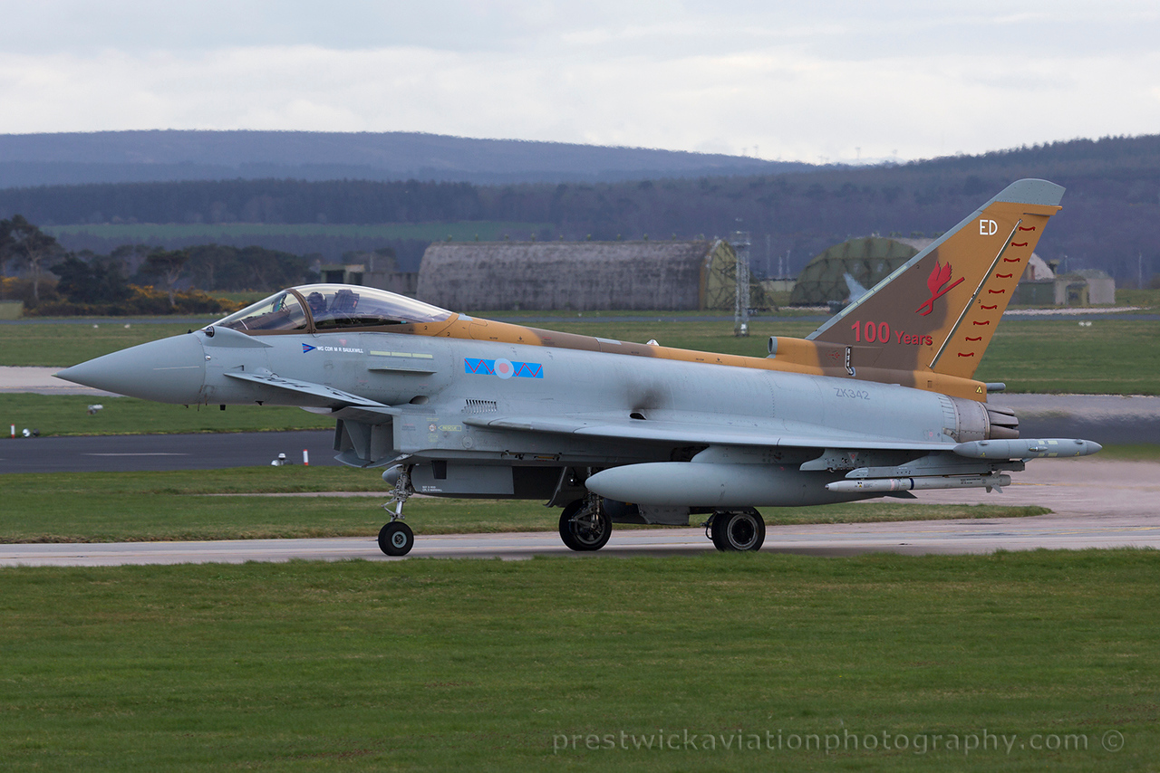 ZK342. Eurofighter EF-2000 Typhoon FGR4. RAF. Losiemouth. 150415.