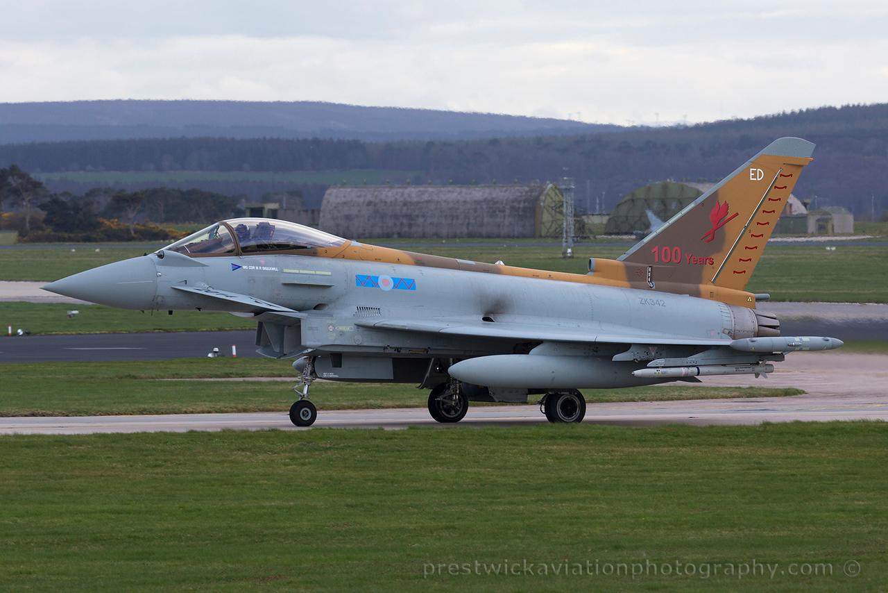 ZK342. Eurofighter EF-2000 Typhoon FGR4. RAF. Losiemouth. 150415.