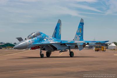 Blue 71. Sukhoi Su-27UB. Ukraine Air Force. Fairford. 170717.