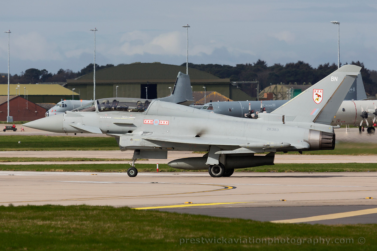 ZK383. Eurofighter EF-2000 Typhoon T3. RAF. Lossiemouth. 160415.