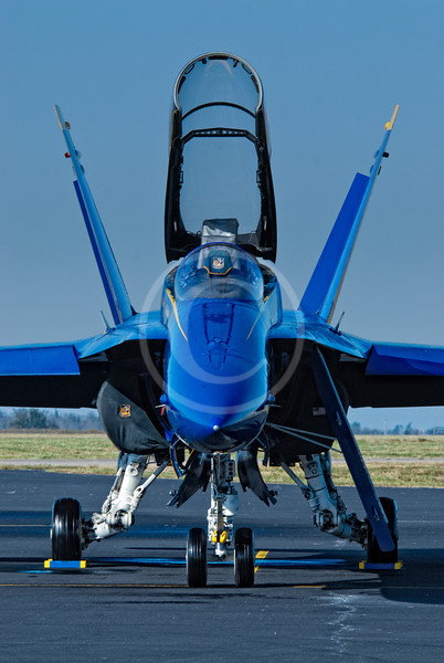 Navy Blue Angel F-18 with canopy open