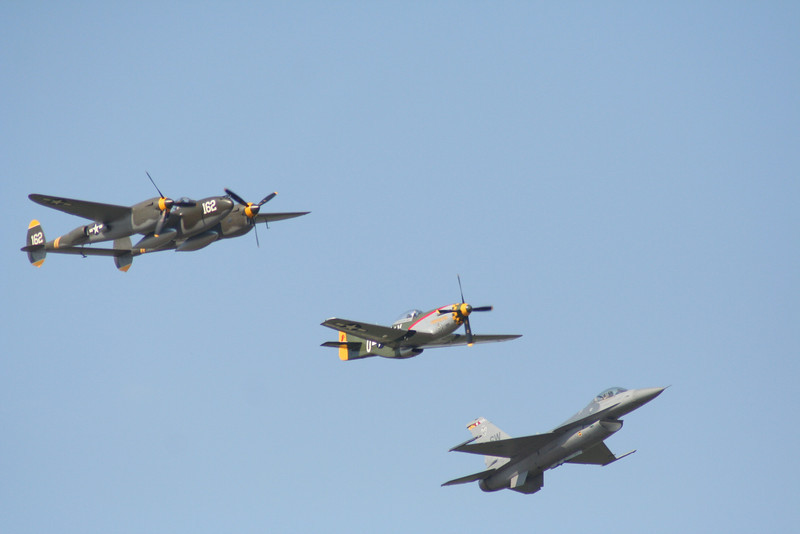 Heritage Flight.  P-38 Lightning, P-51 Mustang, F-16 Falcon.
