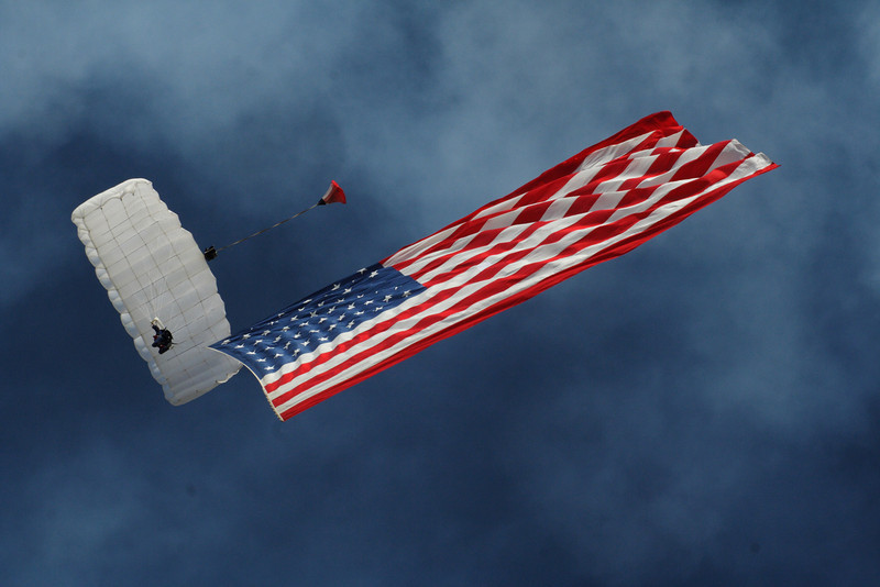 Liberty Parachute Team with American Flag.