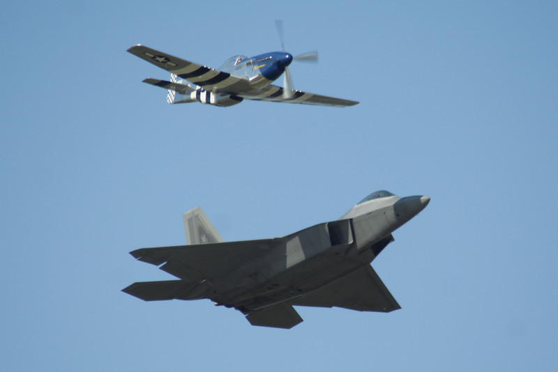 Heritage Flight with the P-51 Mustang and F-22 Raptor Stealth Fighter.