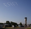Skywriting over the airfield.