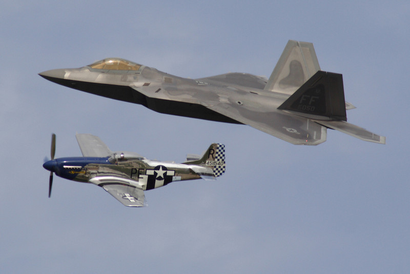 Heritage Flight with the P-51 Mustange and F-22 Raptor Stealth Fighter.