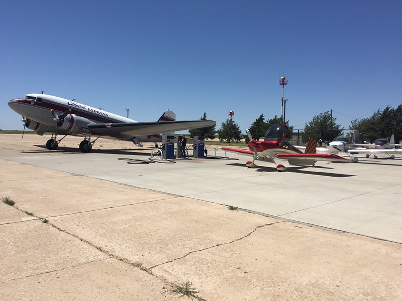 We landed in Dalhart, TX for some more fuel and saw the Flabob Express DC-3 also getting fueled up on their way to Oshkosh. Ken's RV-7 in the foreground.