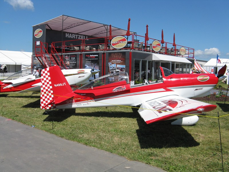 A pair of RV-8's at the Hartzell exhibit.