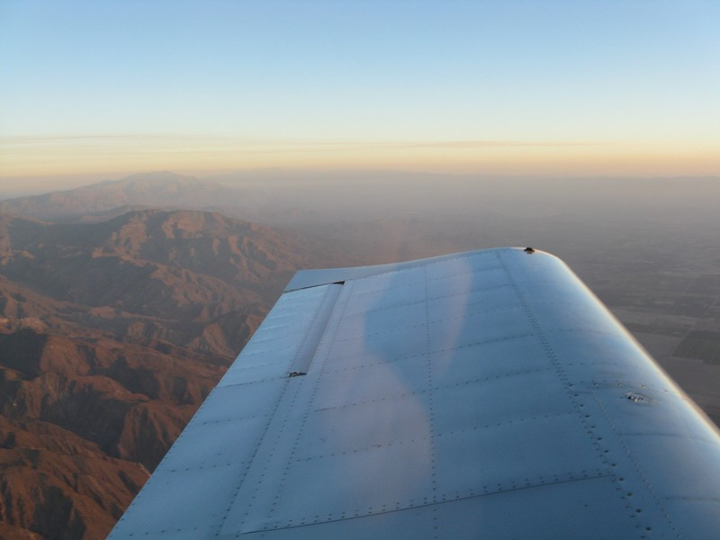 The Palm Springs and Indio area off the left wing.