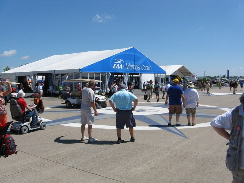 Airventure central at the compass rose.