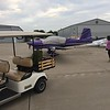 Our first day of flying ends in Ankeny, IA. Got the airplane tied down for the night.