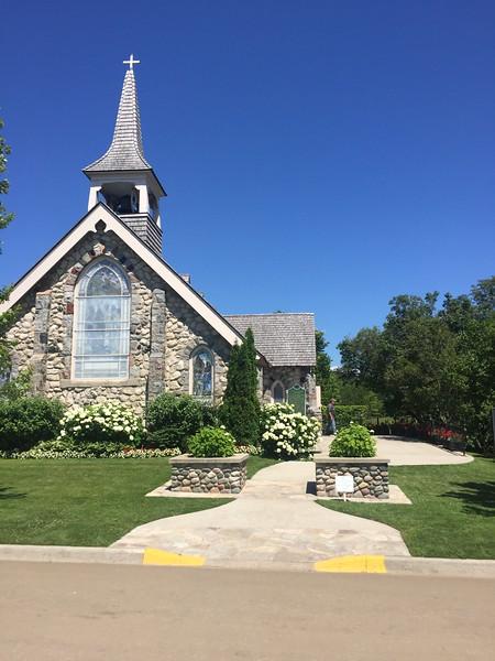 Stone church building.