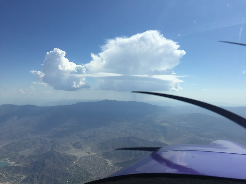 I got just a bit of rain on me over Joshua Tree, then I crossed over Palm Springs and had to divert around this cell on my way into Ramona.