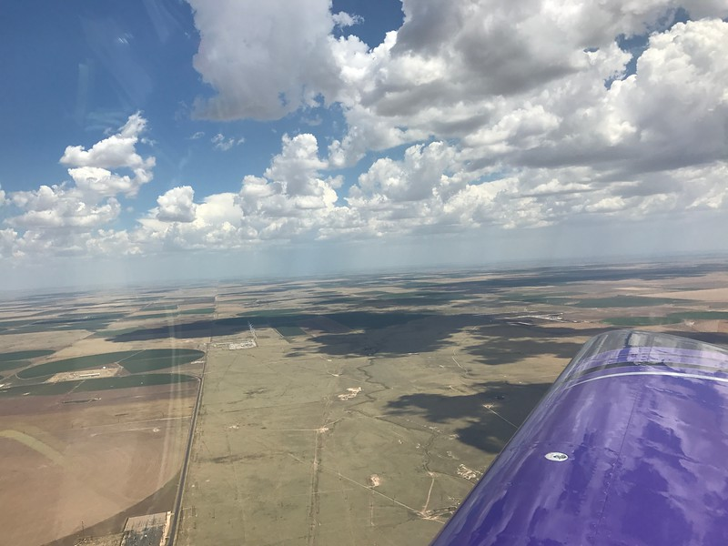 Back in the air, we got a hot and bumpy ride across the panhandles of TX and OK. Clouds were building too fast to get on top.