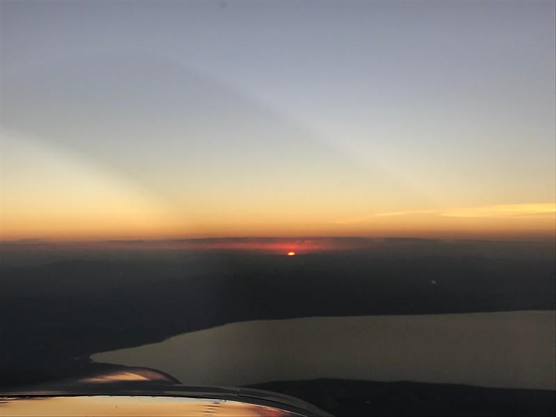 Sun just peeking over the horizon.
