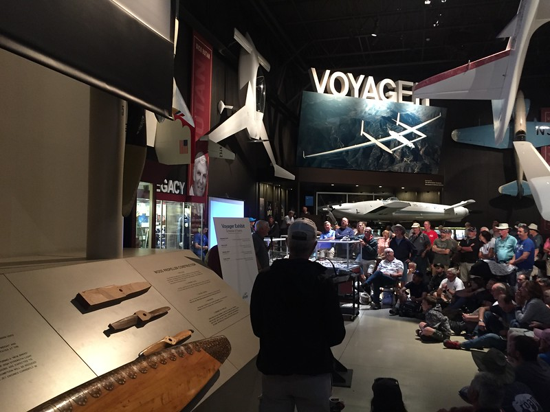 Dick Rutan giving his talk about Voyager.