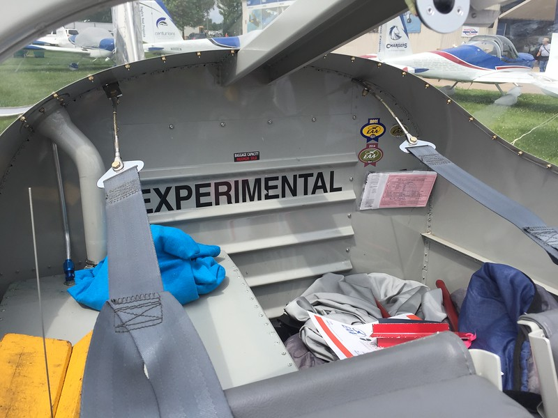 Fuel tank on the left takes up much of the available baggage space. Van's has fixed this on the new RV-12is version.