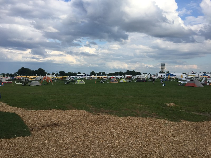 The view of homebuilt camping from the pavilion