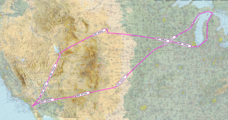 Here is the map of our flight this trip.