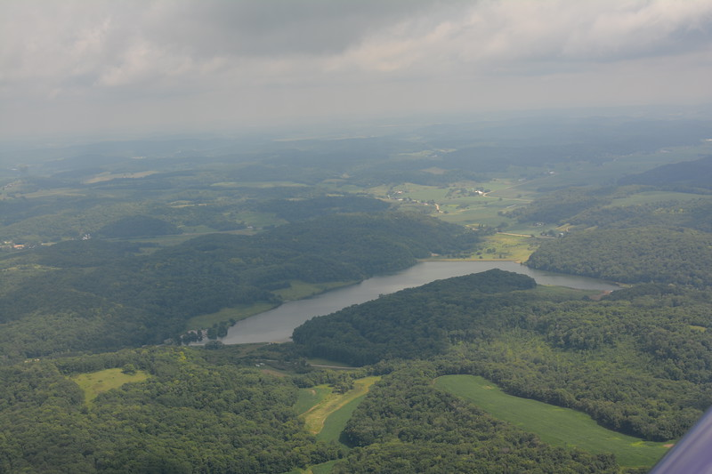 Very green and hilly near the Mississippi River in Wisconsin.