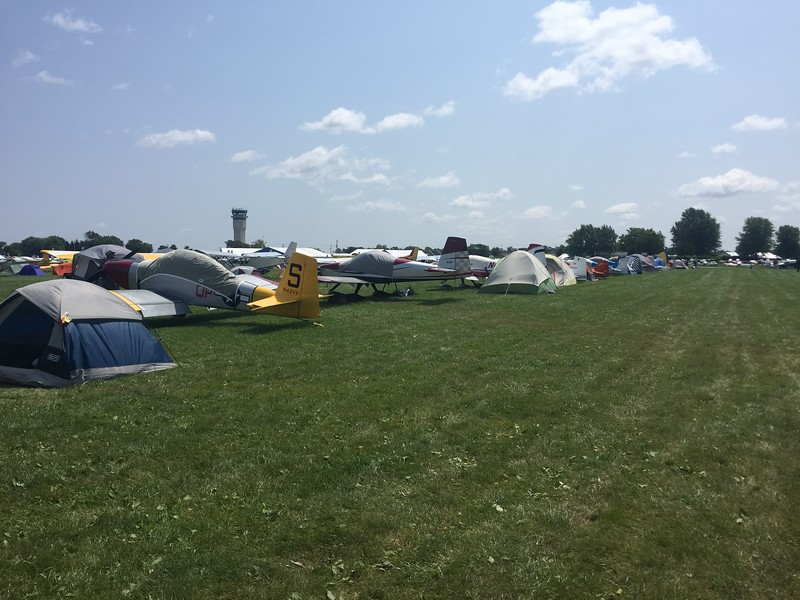 Homebuilt camping area was packed on Tuesday.