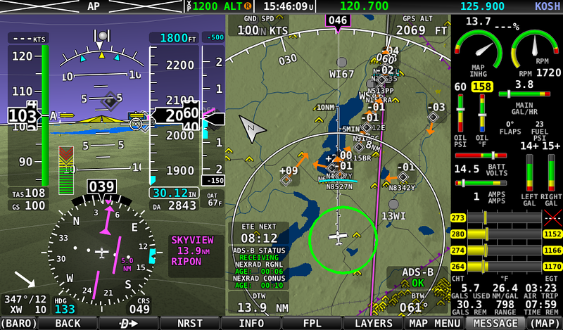 The Fisk arrival view of traffic. Not too bad. The controllers wanted us to aim for the SW corner of Green Lake and try to get in line from there. This is the FAA again just winging it, since this is NOT in the NOTAM. It seemed to work fine. We got behind a Bonanza about a mile and a half and just followed him up the railroad tracks. One airplane crossed in front of us a bit high and too the right from Rush Lake, but he stayed over the highway and not the railroad.