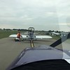 We got in the departure line and were told to turn off our engines due to a gear up landing on the main runway 18R.