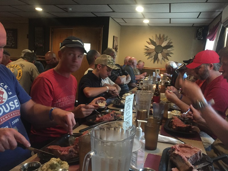 I think we had 26 people show up for this dinner. Mike Bullock is the organizer (red shirt, black hat).