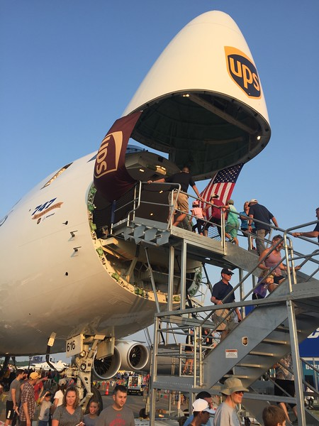Brand new cargo version of the Boeing 747 from UPS was opened up for display.