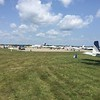 Some bigger light jets and turboprops on the hard surface parking area.