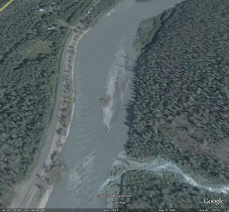 The view of the gravel bar from Google Earth.  This can be located at N61.779997 W148.466593