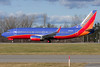 A Southwest 737 rolls down runway 28.