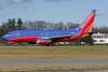 A Southwest 737 rolls down runway 28.