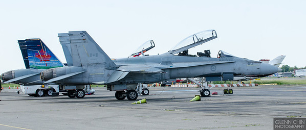 Canadian CF-18s.  Demo team plane with its backup in the foreground.