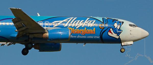 Alaska Airlines Disney Plane. Aladdin Genie