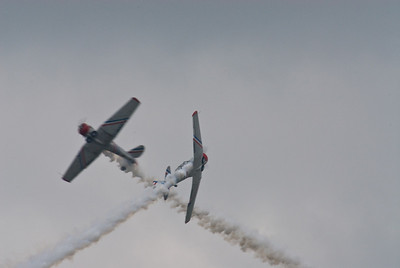 GEICO Skytypers in their AT-6 Texans - Opposing Solo maneuver