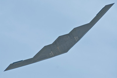"B-2 Spirit from Whiteman AFB Missouri banking away from the crowd line. This one is called ""Spirit of Nebraska"""